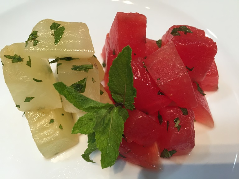 Finished Compressed watermelon and honey dew