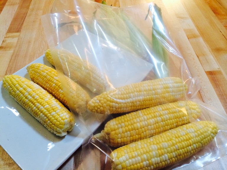 sous vide sweet corn in vacmaster pouch